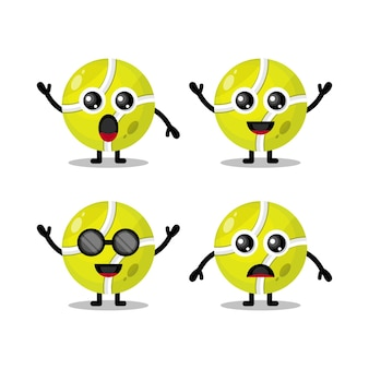 Tennisbal schattig karakter logo
