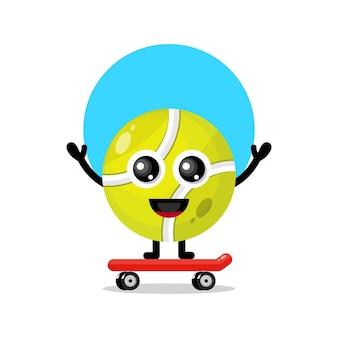 Tennisbal skateboard schattig karakter mascotte