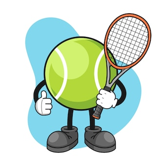 Tennisbal stripfiguur met duimen omhoog pose