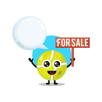 Tennisbal te koop schattige karakter mascotte