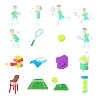 Tennispictogrammen in beeldverhaalstijl die worden geplaatst