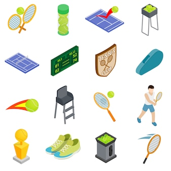 Tennispictogrammen in isometrische die 3d stijl worden op witte achtergrond worden geïsoleerd geplaatst die