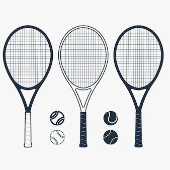 Tennisracket en bal, uitrusting voor het spel, uitrusting voor competitie.