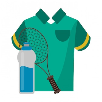 Tennisracket met t-shirt en waterfles