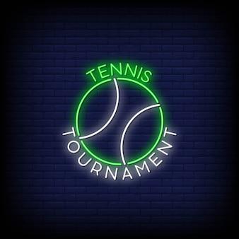 Tennistoernooi-logo in neonreclames Premium Vector