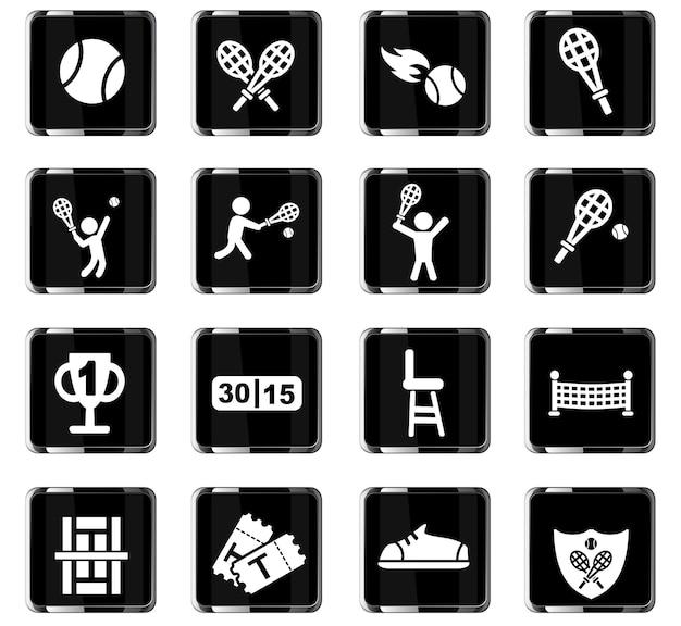 Tenniswebpictogrammen voor gebruikersinterfaceontwerp