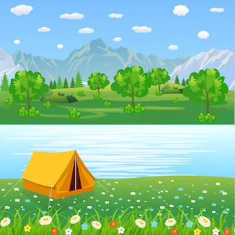 Tent camping toeristen bos berg expeditie