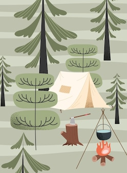 Tent en kampvuur camping scene