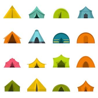 Tent formulieren pictogrammen instellen in vlakke stijl