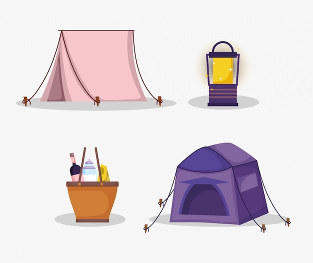 Tent lantaarn mand voedsel picknick in het park