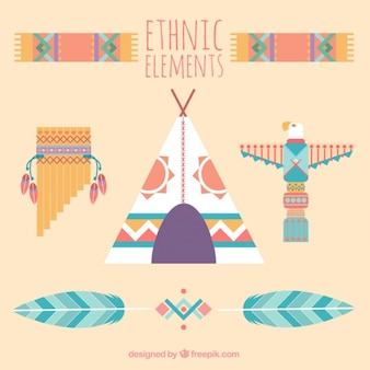 Tent met andere etnische elementen in vlakke stijl