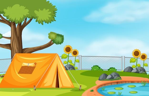 Tent naast vijver