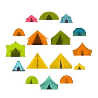 Tent vormt pictogrammen instellen in vlakke stijl