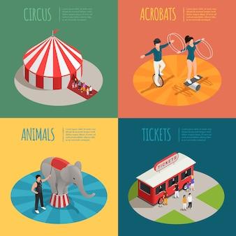 Tentacrobaten ticket kassier trailer en olifant trainer vierkante composities
