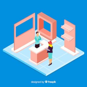 Tentoonstelling in isometrisch ontwerp