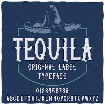 Tequila blauw label met lettertype