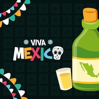 Tequila-fles en schot