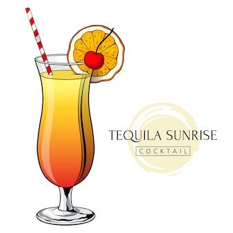 Tequila sunrise cocktail handgetekende alcoholdrank met sinaasappelschijfje en kers