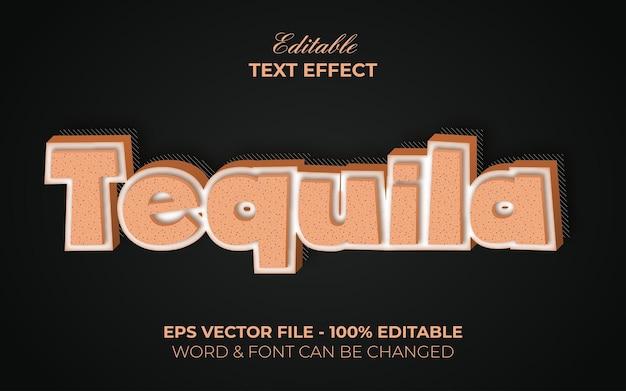 Tequila-teksteffectstijl. bewerkbaar teksteffect.
