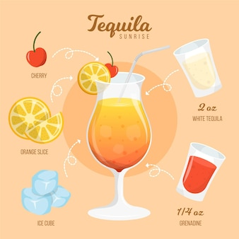 Tequila zonsopgang cocktail recept ontwerp