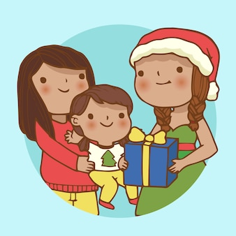 Ter beschikking getrokken de scène van de kerstmisfamilie