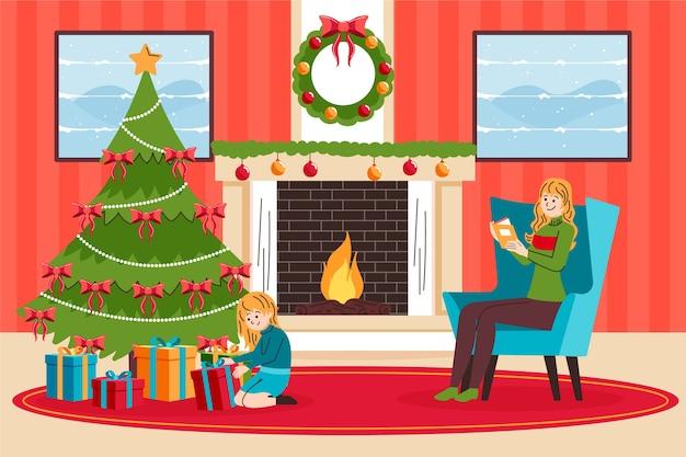 Ter beschikking getrokken de scèneconcept van de kerstmisopen haard