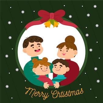 Ter beschikking getrokken het concept van de de familiescène van kerstmis