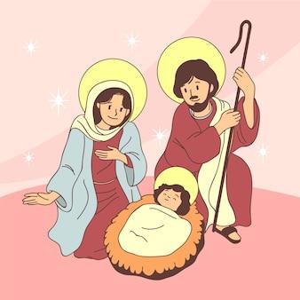Ter beschikking getrokken het concept van de geboorte van christusscène