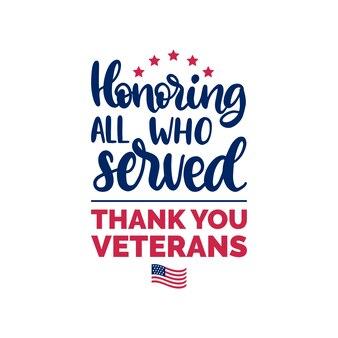 Ter ere van all who served, handschrift met usa-vlagillustratie. 11 november vakantie achtergrond. veteranendag poster, wenskaart in vector.