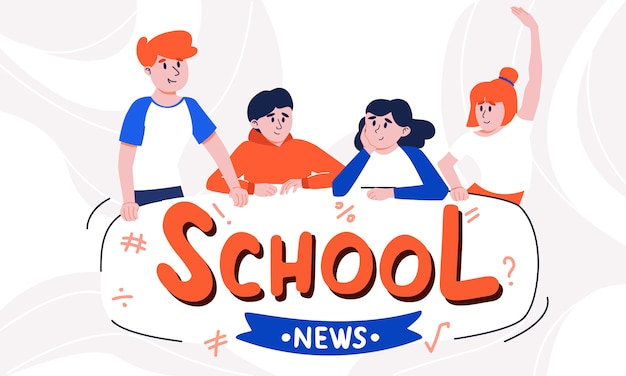 Terloops gekleed tieners praten samen en school nieuws tagline. een aantal blije en geïnteresseerde jongens en meisjes die de laatste klasberichten bespreken. kinderen gaan terug naar school. de reünie van schoolvrienden.
