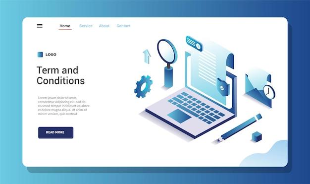 Termijn en voorwaarde van softwareovereenkomst service illustratie concept met laptop papier lus potlood