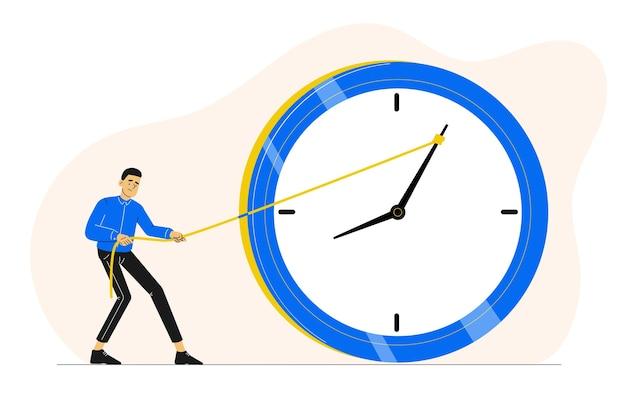 Termijn of tijdbeheerconcept met de mens die een klok probeert te stoppen