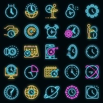 Termijn pictogrammen instellen. overzicht set deadline vector iconen neon kleur op zwart