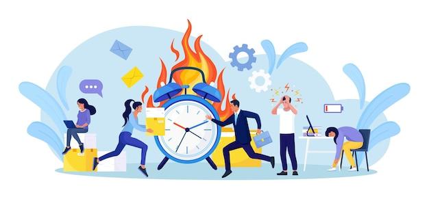 Termijn storing. kantoorpersoneel werkt overuren. mensen in hoge stressomstandigheden. veel werk en weinig tijd. uitgeputte, gefrustreerde werknemer in haast. paniek en acute stressstoornis op kantoor