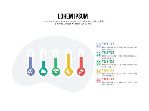 Termometer achtergrond presentatie infographic en statistieken dia