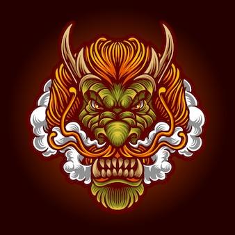 Terra dragon hoofd met rook premium vector illustratie