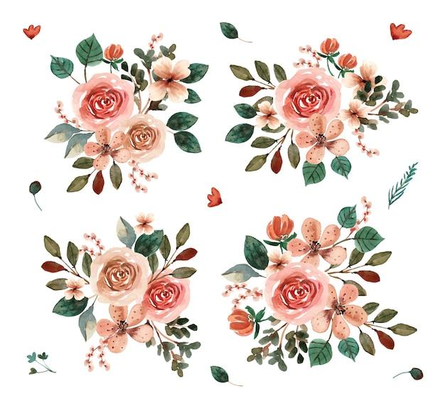 Terracotta aquarel bloemen boeket collectie