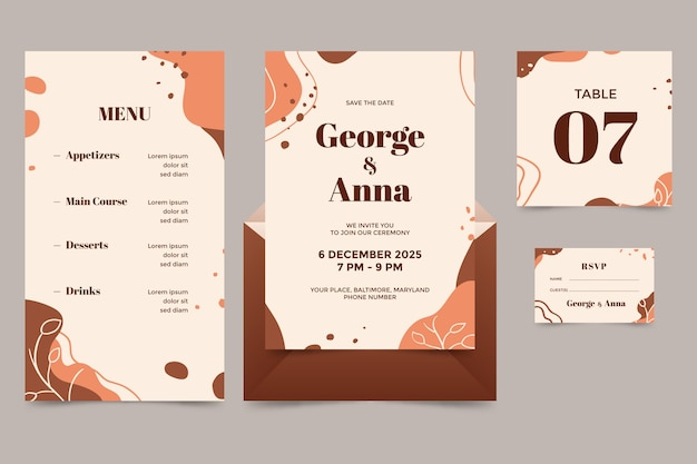 Terracotta bruiloft briefpapier