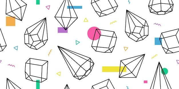 Terrarium geometrische glas memphis patroon vector achtergrond