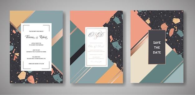 Terrazzo bruiloft uitnodigingskaarten set. luxe geometrische abstracte ontwerpsjabloon voor groeten, spandoek, poster met marmeren textuur. bewaar de datum, rsvp. vector illustratie