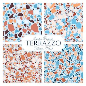 Terrazzo gebroken tegel vloer naadloze structuurpatroon, vector abstracte achtergrond met chaotische mozaïek stukken, samengesteld uit natuursteen, marmer, glas en beton imitaties.