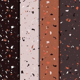 Terrazzo herhalende naadloze patronen set. textuur samengesteld uit natuursteen, glas, kwarts, beton, marmer, kwarts. italiaans type vloer.