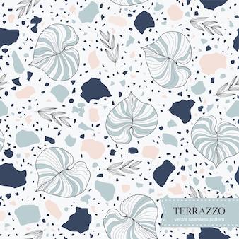 Terrazzo naadloos patroon met hand getrokken bladeren