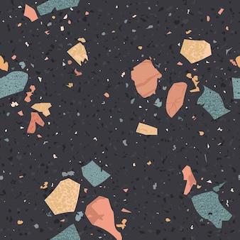 Terrazzo naadloos patroon. vloeren abstracte achtergrond marmeren textuur samengesteld uit graniet, steen, kwarts fragmenten en beton. vector illustratie