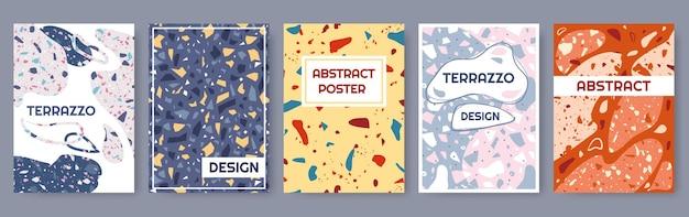 Terrazzo posters abstracte moderne kaartsjabloon met kleurrijke steen graniet textuur