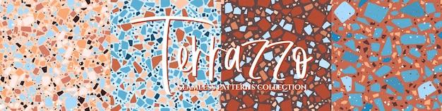 Terrazzo tegelvloer textuur naadloze patronen set