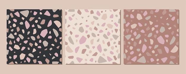 Terrazzo textuur klassieke italiaanse vloer samengesteld uit natuursteen, graniet, kwarts, marmer, glas en beton. vector terrazzo instellen veneziano naadloze patroon.