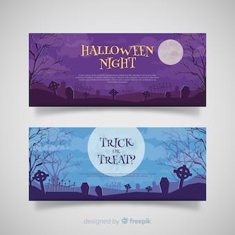 Terrirfic halloween-banners met vlak ontwerp