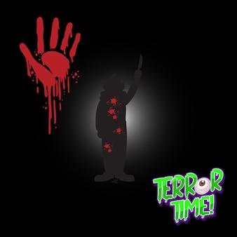 Terror time-logo met bebloede handafdruk en clownsilhouet