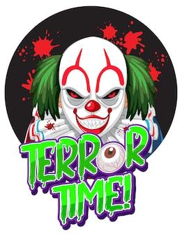 Terror time-tekstontwerp met griezelige clown